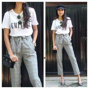 Zara High Waisted Plaid Paper Bag Pants Black XS